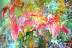 Lily Mosaic, Mixed media on Paper
