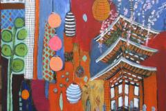 Orange Lantern, Mixed Media on Canvas
